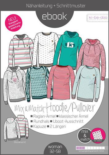 89ca9cb838 Mix&Match Hoodie/Pullover Damen - Schnittmuster und Anleitung als PDF Datei  in A4 - Viele Ebooks und Papierschnittmuster zum selber nähen!