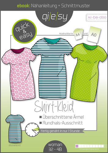 Qi|e|sy Ebook 03 Shirt-Kleid - Schnittmuster und Anleitung als PDF Datei in A4+A0